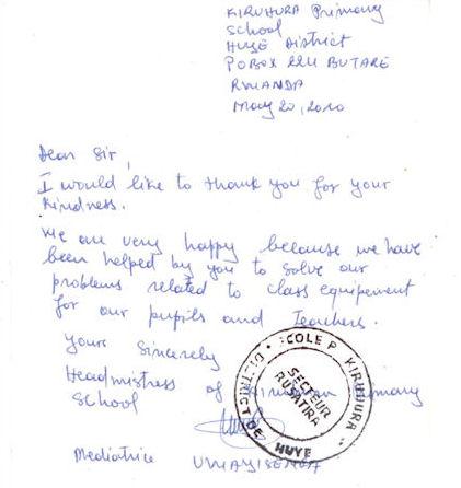 Letter from Rwanda
