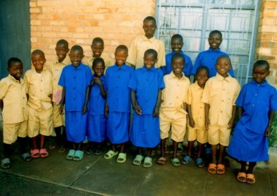 Primary school children at Kiruhura in new uniforms and footware.